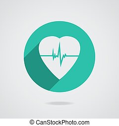 Defibrillator heart icon isolated on teal background Vector...