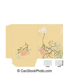 Template for decorative folder with floral element