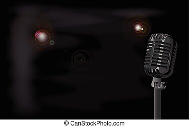 Smokey Club Background - A stage microphone set on a smokey...