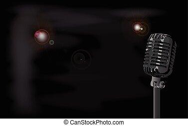 Smokey Club Background - A stage microphone set on a smokey...