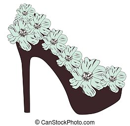high heel shoe - vector high heel shoe with flowers