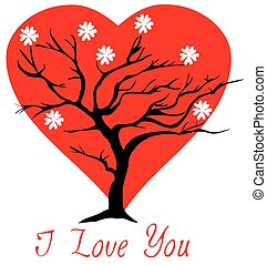 valentine tree heart - vector valentine tree with flowers