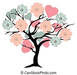 valentine tree - vector tree with hearts and flowers