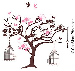 valentine tree - vector vintage tree with bird cages