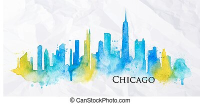 Silhouette watercolor Chicago - Silhouette of Chicago city...