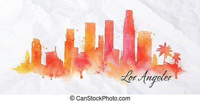 Silhouette watercolor Los Angeles - Silhouette of Los...