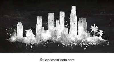 Silhouette chalk Los Angeles - Silhouette of Los Angeles...