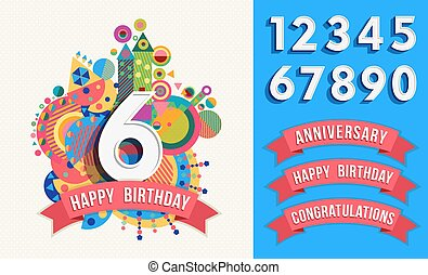 Happy birthday greeting card number set template - Happy...