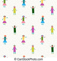 Seamless pattern people geometry colorful