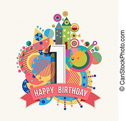 Happy birthday 1 year greeting card poster color - Happy...