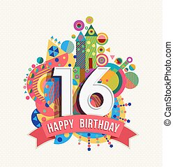 Happy birthday 16 year greeting card poster color