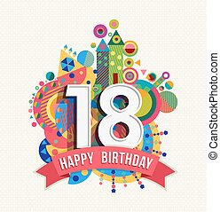 Happy birthday 18 year greeting card poster color - Happy...