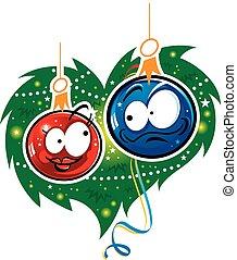 Christmas Love - Two christmas toys - glass balls, he and...