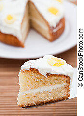 Slice of delicious lemon cake