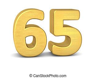 3d number 65 gold