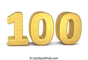 3d number 100 gold