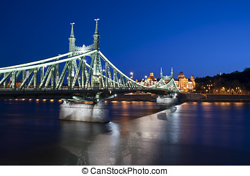 Budapest Liberty Bridge at Night, Hungary
