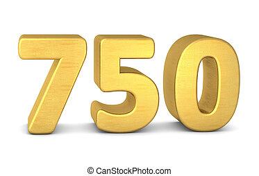 3d number 750 gold