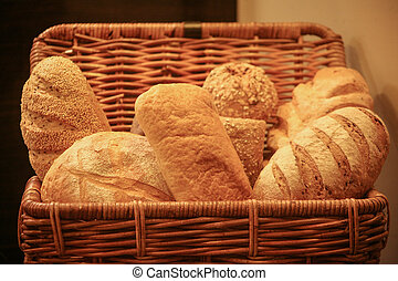 All sorts breads in wattled willow basket