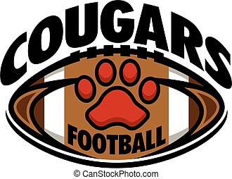 cougars football team design with paw print inside ball for...