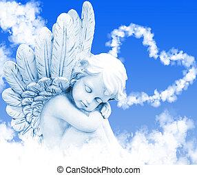Angel dreams before clouds
