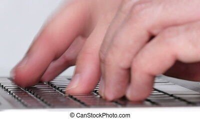 Laptop Typing in the Office Closeup - Writer writes his last...