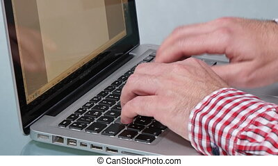 Laptop Keyboard Working Hard - Writer writes his last novel...