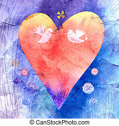 bright watercolor heart - beautiful watercolor a heart for...