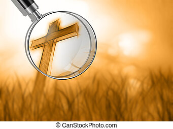 wooden cross in grass made in 3d software