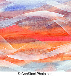 Abstract watercolor background with waves - bright beautiful...