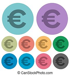 Color euro sign flat icons - Color euro sign flat icon set...
