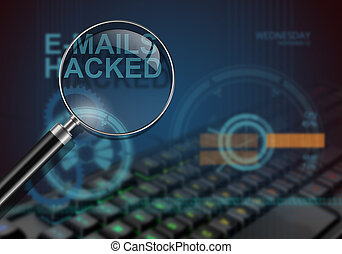 e-mails hacked - hi tech infographics of e-mails hacked made...