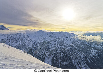 Sunset in Kasprowy Wierch peak of Zakopane in Tatras in...