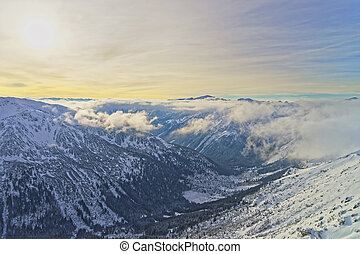 Sunset in Kasprowy Wierch of Zakopane in Tatra Mounts in...