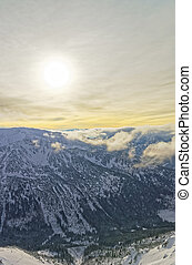 Sunset in Kasprowy Wierch in Zakopane in Tatra Mounts in...