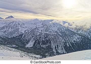 Sunset at Kasprowy Wierch peak of Zakopane in Tatras in...