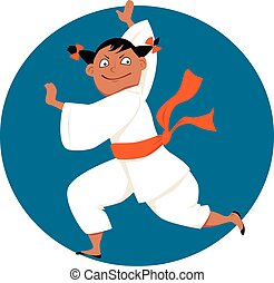 Kung fu girl - Little cartoon girl doing martial arts, EPS 8...