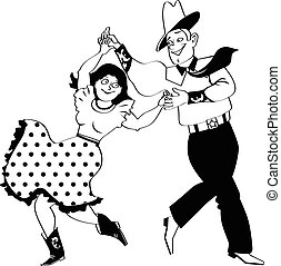 Square dance clipart - A couple dressed in traditional...