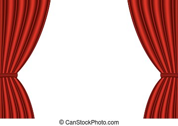 Red curtain opened on white background.