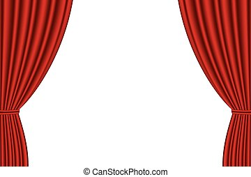 Red curtain opened on white background - Red curtain opened...