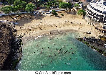 Aerial view of Prainha beach in Praia - Santiago - Capital...