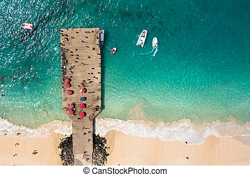 Aerial view of Santa Maria beach pontoon in Sal Island Cape...