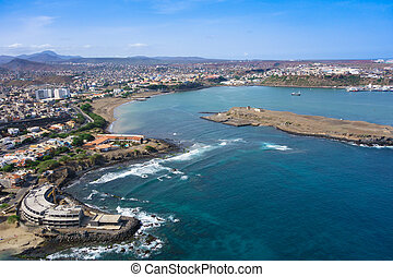 Aerial view of Praia city in Santiago - Capital of Cape...