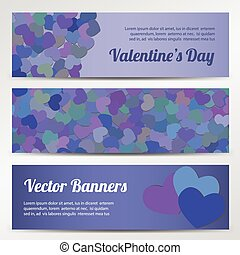 Valentines Day horizontal vector banners on purple backgrounds
