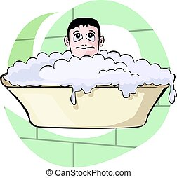 bathtub	 - Illustration of boy bathing with bathtub