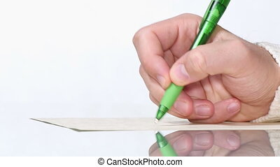 Young Man Writing by Hand with Pen - Writer writes his last...