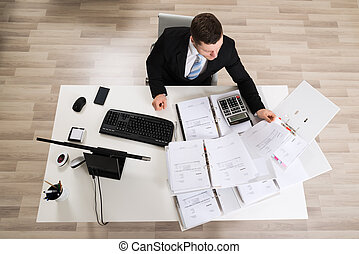 Businessman Analyzing Documents At Computer Desk - High...