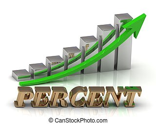 PERCENT- inscription of gold letters and Graphic growth and...