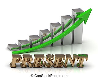 PRESENT- inscription of gold letters and Graphic growth and...