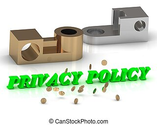 PRIVACY POLICY - words of color letters and silver details...